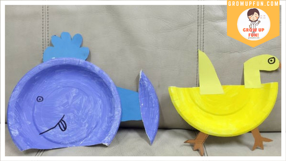 While leaving the plates to dry take out the colored papers and refer to the photo above. Draw and cut the following shapes & Duck u0026 Whale Paper Plate Craft u2013 Grow Up Fun